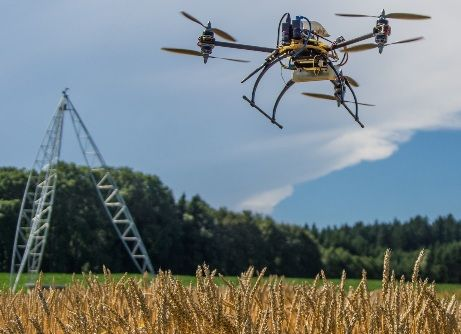 Drones take images of crops. Precision agriculture firms use image analysis to improve crop yields.