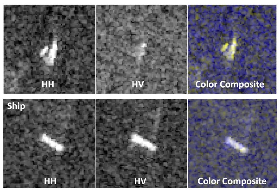 Figure 2.  Color composite images of an easily classified iceberg and ship created from multiple polarization channels.