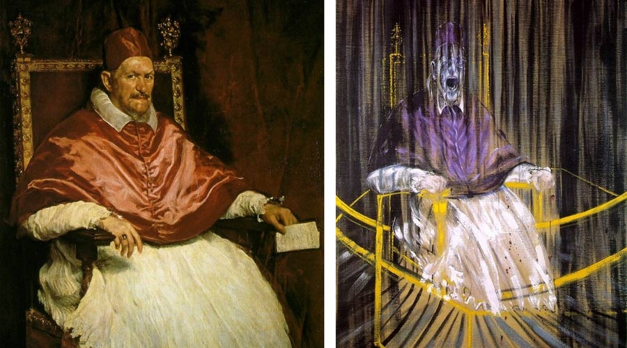 """Figure 1. Left: Diego Velázquez's """"Portrait of Pope Innocent X."""" Right: Francis Bacon's """"Study After Velázquez's Portrait of Pope Innocent X."""""""
