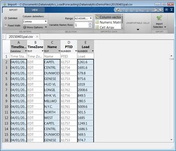 Figure 2 (top). CSV data selected for import.