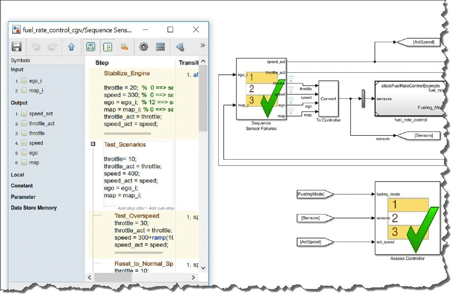 그림 4: 복잡한 테스트 시나리오를 모델링하고 작성하는 Simulink Test 시퀀스 및 평가 블록.