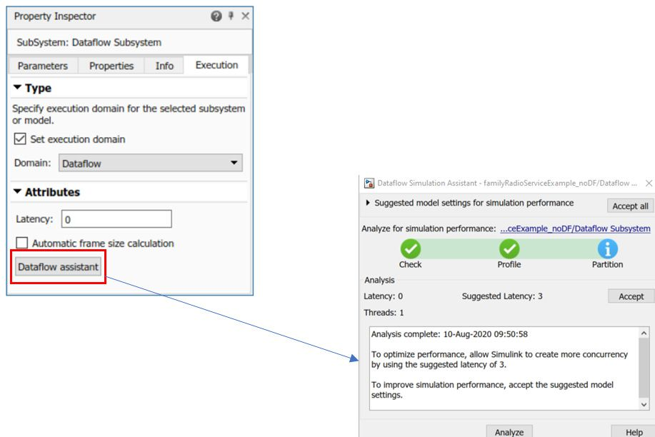 Figure 5. Dataflow assistant showing suggested changes to model settings.