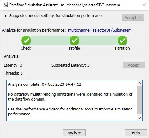 Figure 7. Dataflow assistant showing the latency and number of threads for model execution.