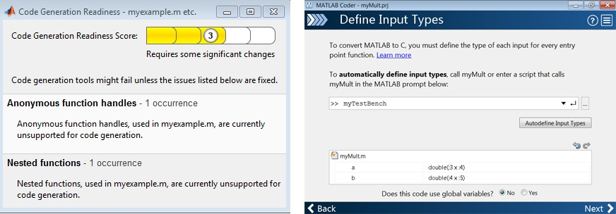 Figure 2. Left: Automated checks for features and functions not supported for code generation. Right: Automated analysis and proposal for input data type and sizes.