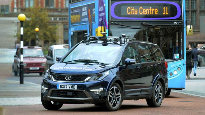 Trials for Tata's autonomous vehicle in Coventry, UK.