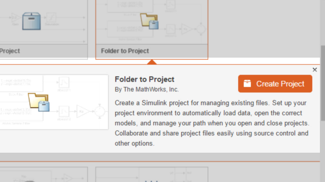 Easily turn a folder into a Simulink Project and manage your files, data, and environment in one place.