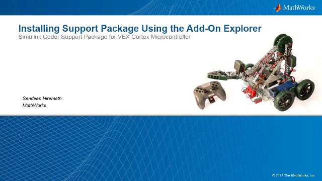Use Add-On Explorer in MATLAB to install a hardware support package.