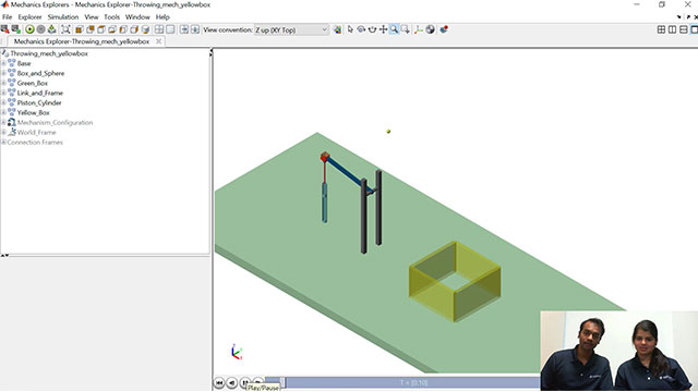 Veer and Maitreyee show you how to build a throwing mechanism to throw a ball at a certain target using Simscape Multibody.