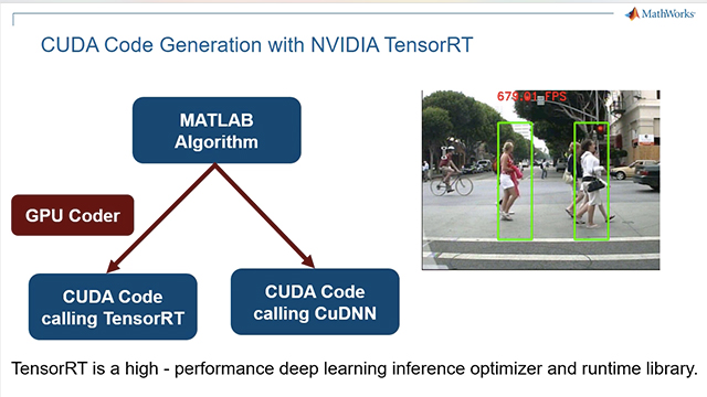 Generate CUDA code from a trained deep neural network in MATLAB and leverage the NVIDIA TensorRT library for inference on NVIDIA GPUs using a pedestrian detection application as an example.