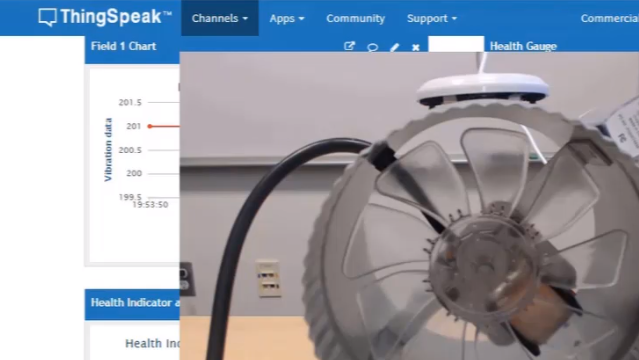 Predict the health condition and time to failure of an industrial duct fan using MATLAB and ThingSpeak. Develop algorithms based on measured vibration data from the fan and execute these predictive algorithms as the data streams into ThingSpeak.