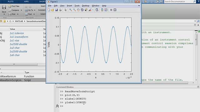 Connect and communicate with test instruments, then automatically generate MATLAB code that can perform the same tasks in the future. This example shows these steps for reading oscilloscope data into MATLAB.