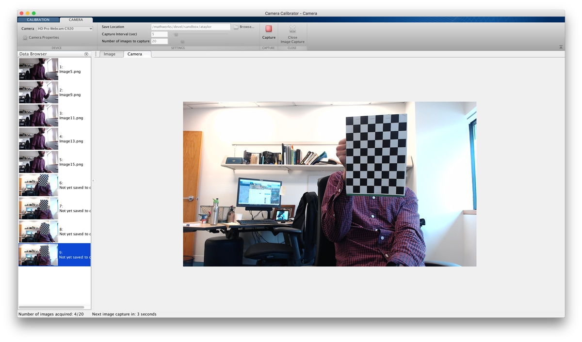 Figure 3. Sequence of photographs of a checkerboard calibration pattern loaded into the Camera Calibrator app.
