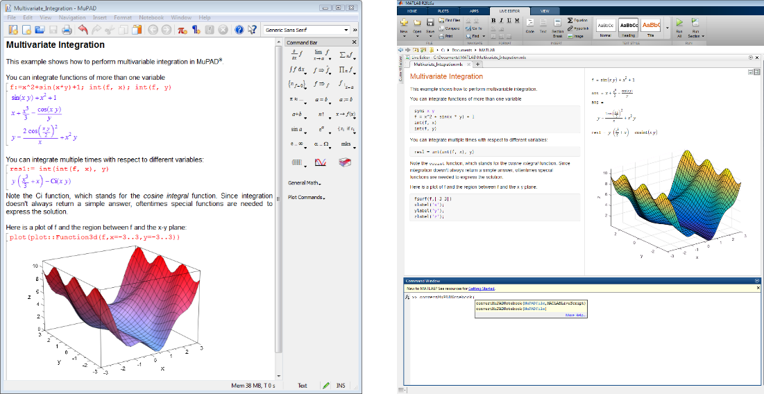 Converting a MuPAD Notebook (top, left) to a live script (top, right) using the convertMuPADNotebook function (bottom).