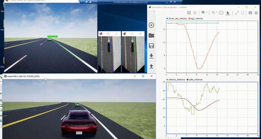 MATLAB 및 Simulink로 만든  카메라 인식이 적용된 차선 추종 제어 응용 프로그램.