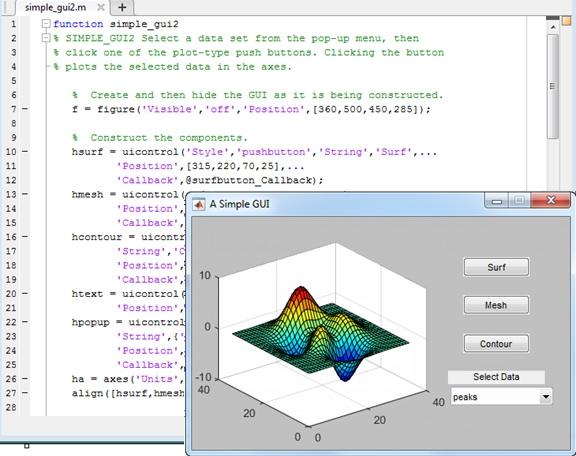 A custom app with a GUI in MATLAB