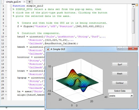 A custom app with a GUI in MATLAB