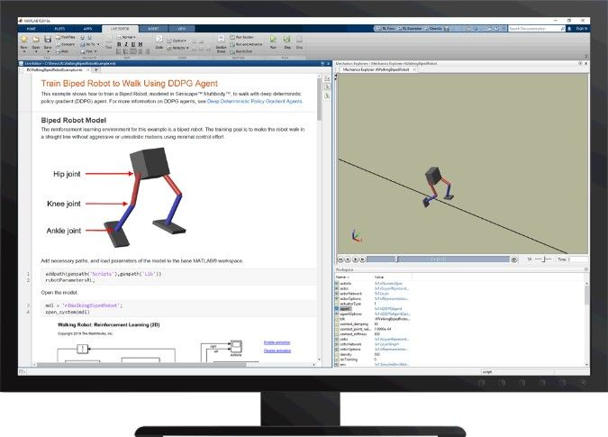 그림 6 Reinforcement Learning Toolbox™로 이족 보행 로봇에게 보행 가르치기