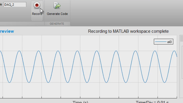 The Analog Input Recorder app helps you quickly get started with Data Acquisition Toolbox. You can interactively configure a session, acquire data directly to the MATLAB workspace, and generate MATLAB code to automate your acquisition in the future.