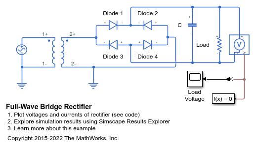 Full Wave Bridge Rectifier Matlab Amp Simulink Mathworks 한국