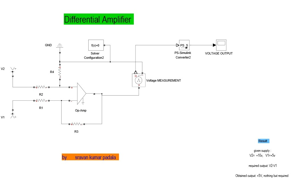 Differential Amplifier Using Opamp File Exchange Matlab Central