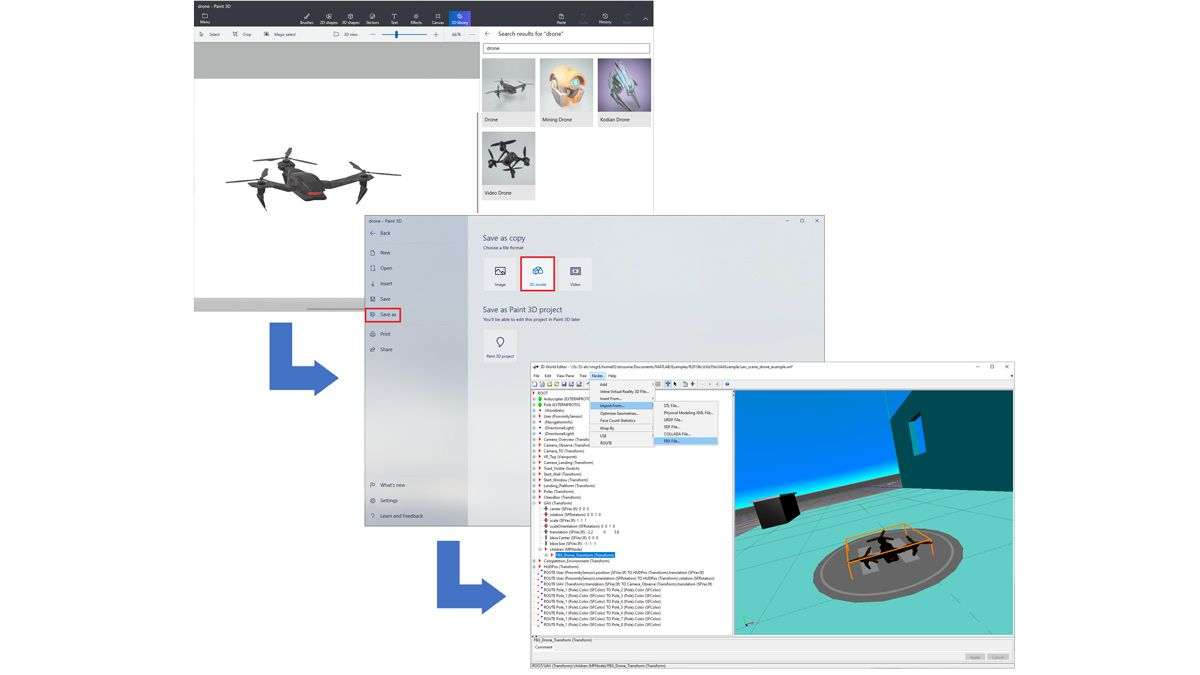 Paint 3D 라이브러리에서 가져와서 FBX 파일로 저장하고 3D 세계로 불러온 드론.