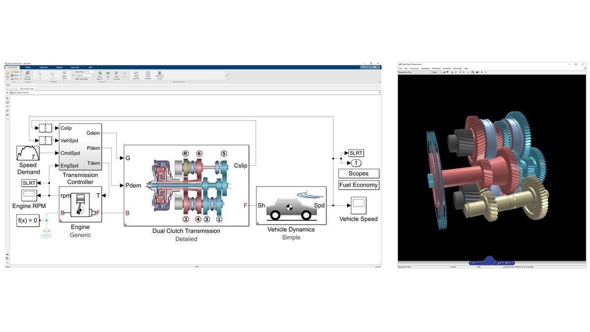 Simscape Driveline에서 모델링된 듀얼 클러치 트랜스미션의 동특성의 3D 애니메이션