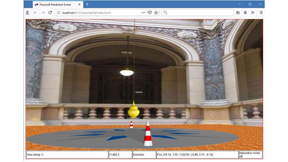 HTML5가 활성화된 브라우저에서 푸코의 진자의 3D 애니메이션입니다.
