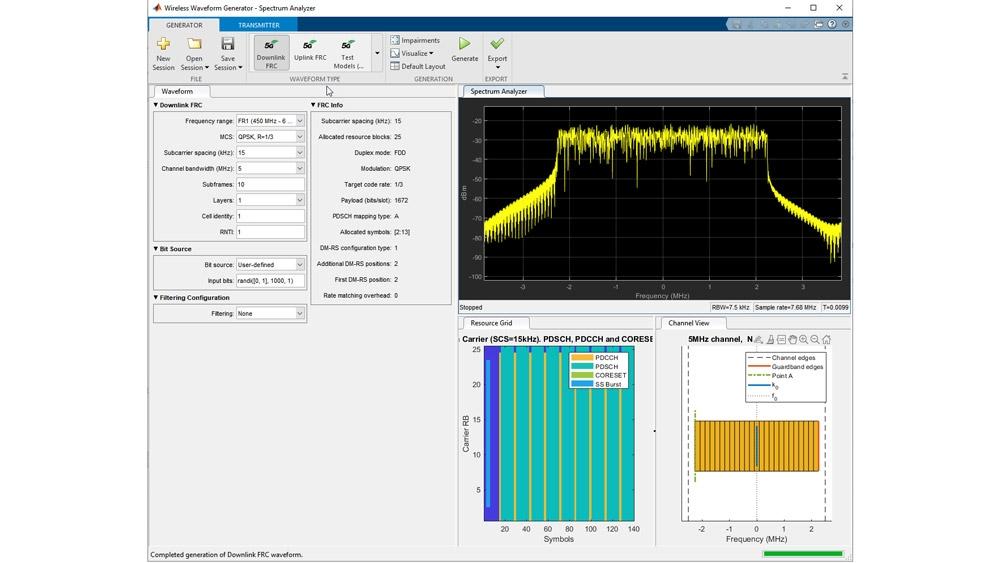 Wireless Waveform Generator 앱을 사용한 테스트 모델 생성.