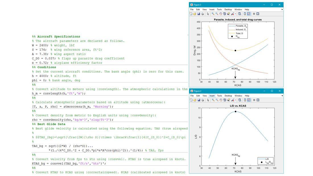 활공 계산 수행 예.