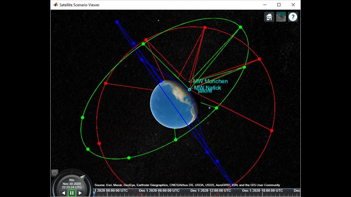 위성 시나리오의 3D 보기.