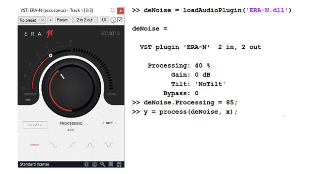 왼쪽에는 오디오 잡음 제거를 위한 상용 오디오 플러그인의 UI가 있으며, 잡음 억제 수준을 설정하기 위한 대형 노브가 포함되어 있습니다. 오른쪽에 있는 몇 줄의 코드는 동일한 플러그인을 프로그래밍 방식으로 MATLAB 객체로 가져와서 사용하는 방법을 보여줍니다.