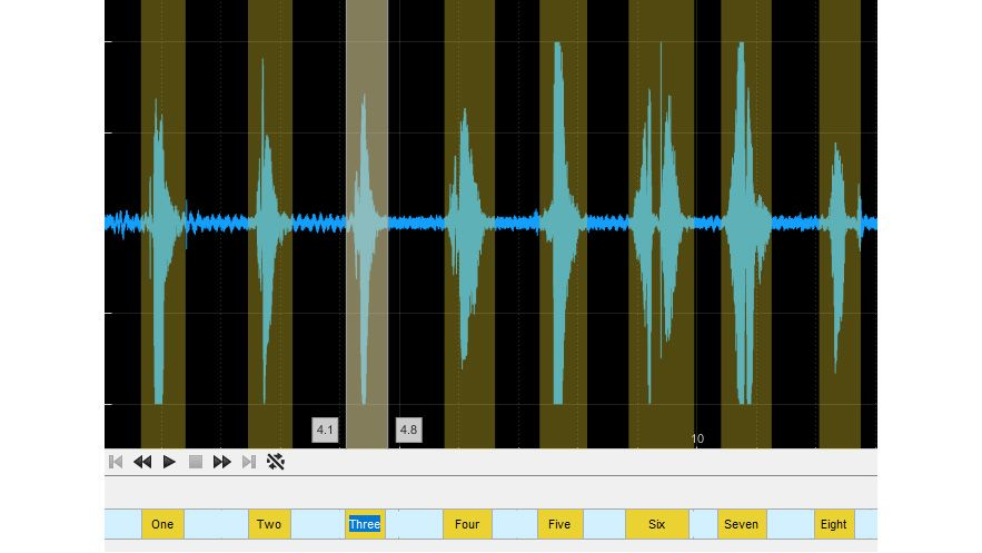 Audio Labeler 앱의 관심 영역 레이블.