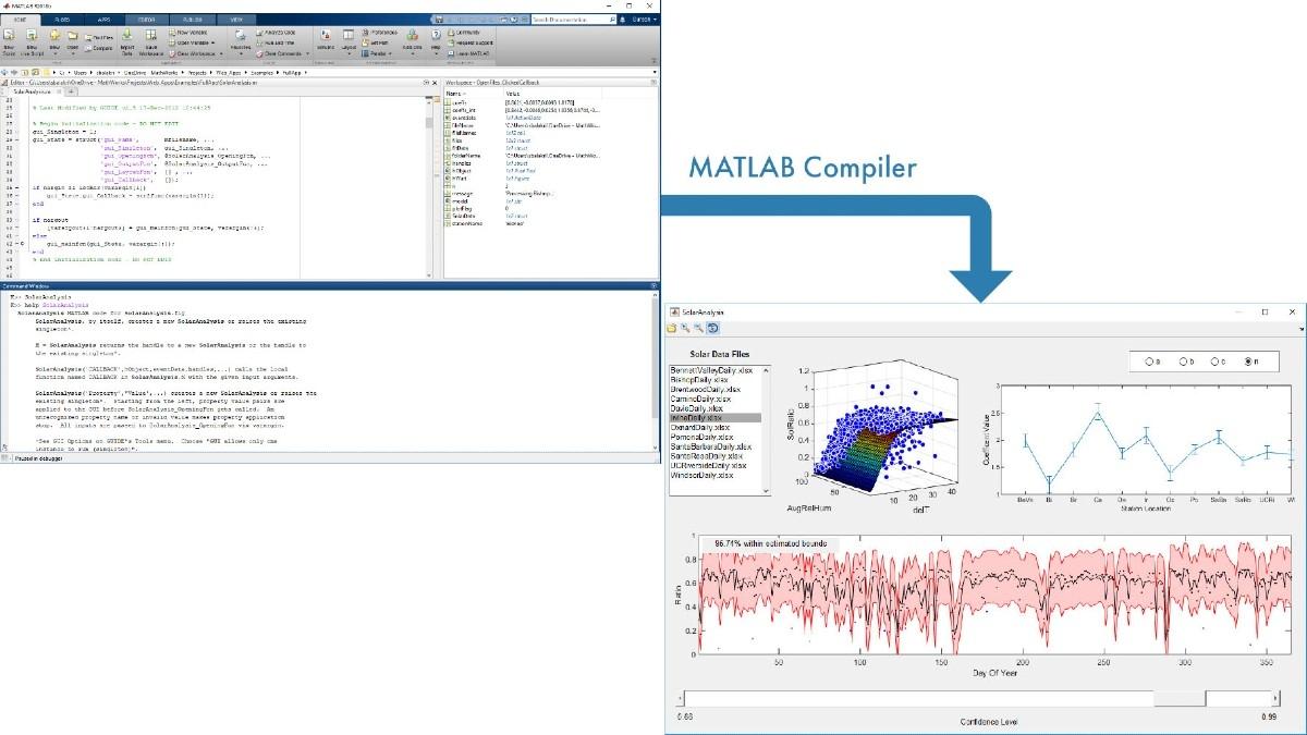 MATLAB에서 만들어진 후 공유를 위해 MATLAB Compiler로 패키징된 일조량 분석 응용 프로그램.