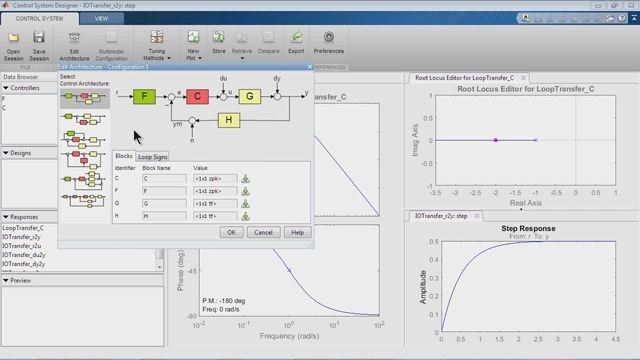 SISO Design Tool을 사용하여 제어 시스템을 설계합니다.