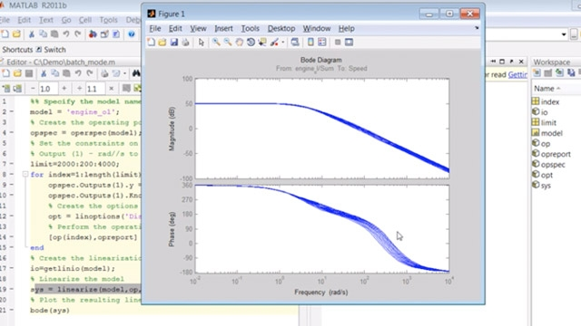 스크립트를 만들어 Simulink ® 모델의 배치 모드 트리밍 및 선형화를 수행합니다.