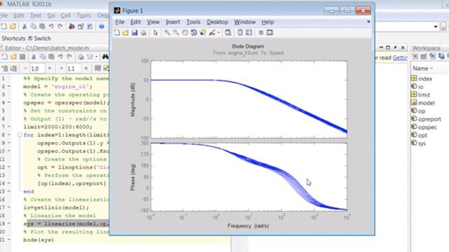 스크립트를 만들어 Simulink 모델의 배치 모드 트리밍 및 선형화를 수행합니다.