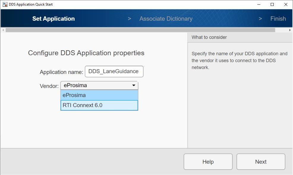 공급업체 선택에서 eProsima 및 RTI Connext 옵션이 표시된 DDS Application Quick Start 화면.