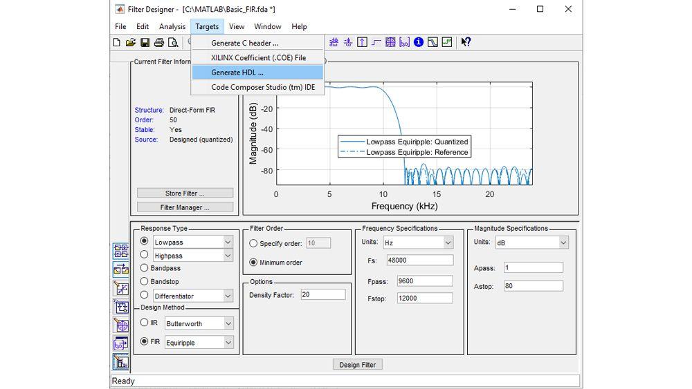 필터를 구성하고 수량화한 후 HDL 코드 생성 UI를 실행하여 합성 가능한 VHDL 또는 Verilog 코드를 생성합니다.