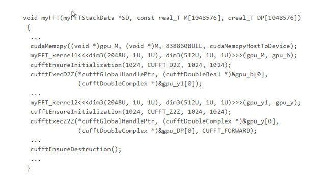 최적화된 cuFFT CUDA 라이브러리에서 함수를 호출하는 생성된 코드.