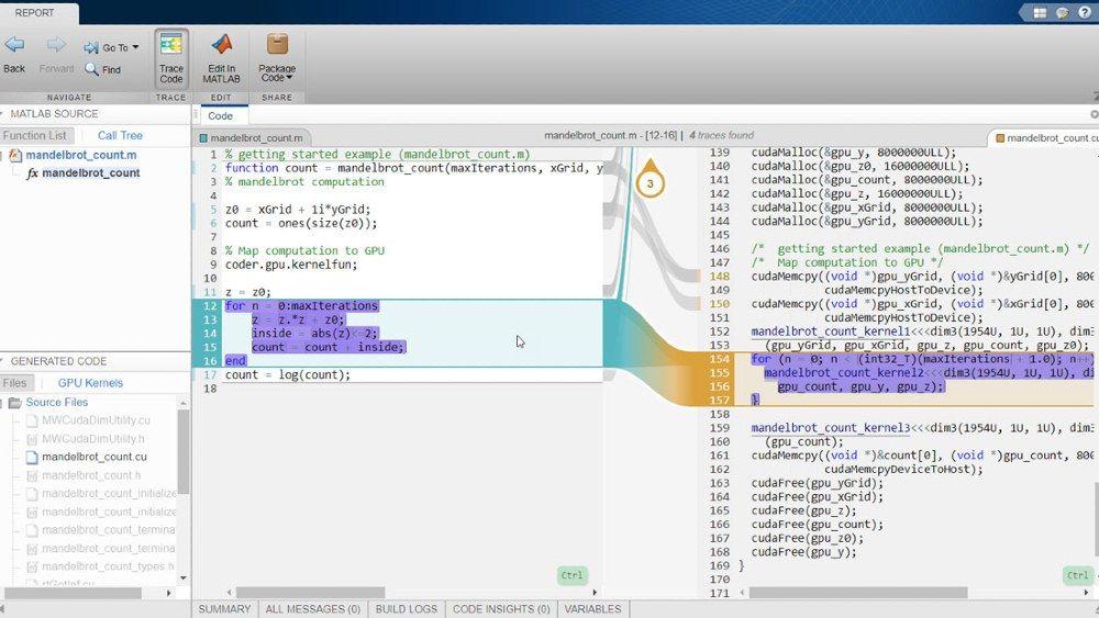 GPU Coder와 Embedded Coder를 사용하는 대화형 추적성 리포트.