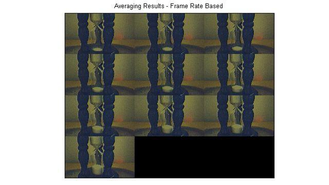 프레임 지연 후 트리거를 실행하고, 5프레임을 수집한 다음, 해당 프레임을 평균하여 생성된 이미지 몽타주.