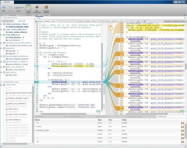 MATLAB Coder와 Embedded Coder를 사용하는 대화형 추적성 보고서.