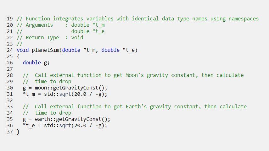 네임스페이스로 동일한 데이터형 이름을 갖는 변수를 통합하는 생성된 코드.
