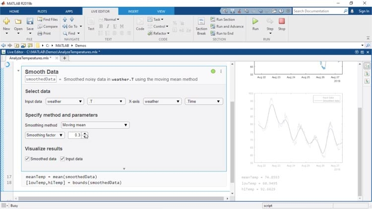 Live Editor Task는 완료된 작업에 대해 대화형 방식으로 파라미터와 옵션을 살펴보고, 결과를 미리 보고, 해당하는 MATLAB 코드를 자동으로 생성할 수 있도록 라이브 스크립트에 추가할 수 있는 앱입니다.