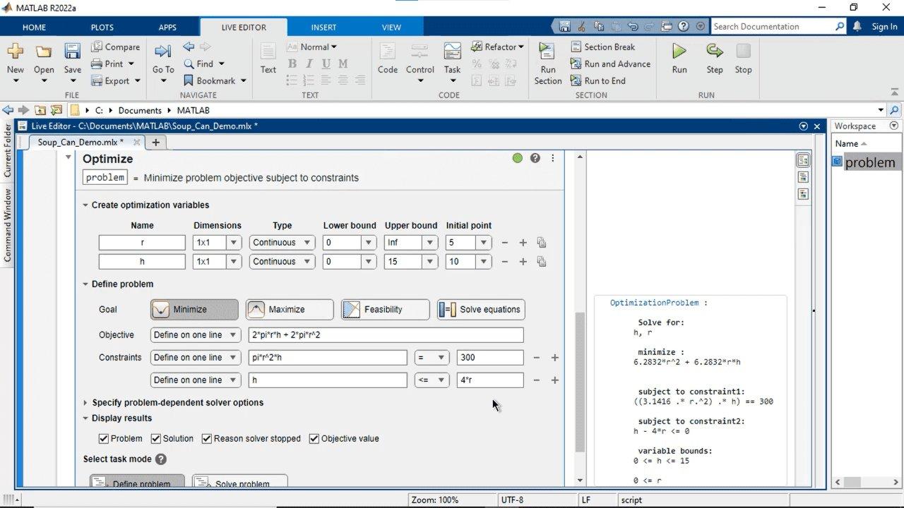 MATLAB, Optimization Toolbox, 또는 Global Optimization Toolbox로 시각적 인터페이스를 통해 대화형 방식으로 최적화 문제를 만들고 풀 수 있습니다. 목적 함수 및 제약 조건을 지정하고, 솔버를 선택하고 옵션을 설정할 수 있습니다.