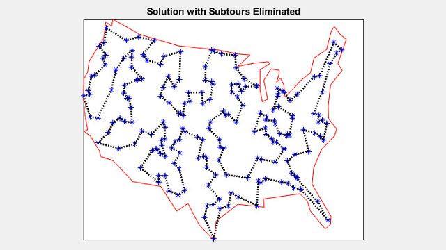 200개의 도시를 이동하는 외판원 문제의 해