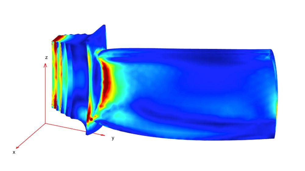연성 기계적 및 열 부하 하에서의 응력 분포.