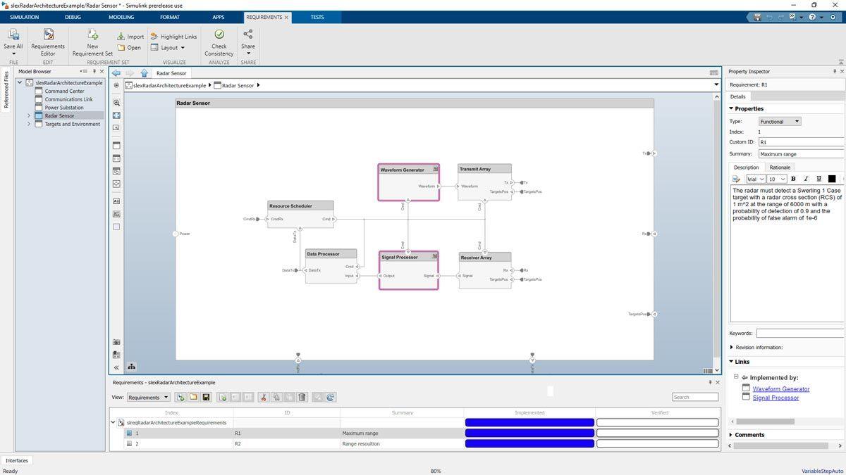 요구사항 상태를 보여주는 레이더 설계와 패널이 있는 System Composer.