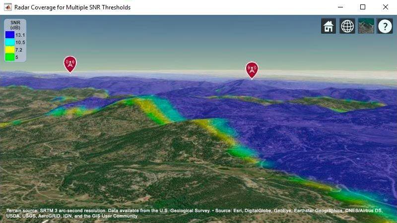 두 레이더 시스템의 결합된 표적 커버리지 영역을 보여주는 지형 기반 지도.