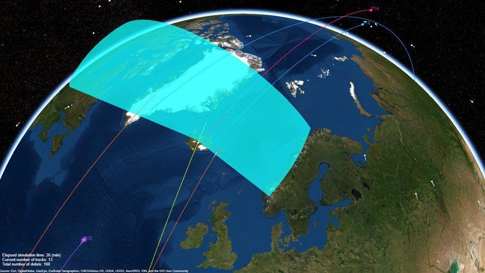 지구 주위를 도는 우주 쓰레기를 추적하는 레이더 시스템.